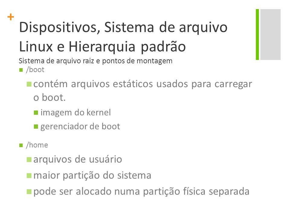 + Dispositivos, Sistema de arquivo Linux e Hierarquia padrão Sistema de arquivo raiz e pontos de montagem /boot contém arquivos estáticos usados para carregar o boot.