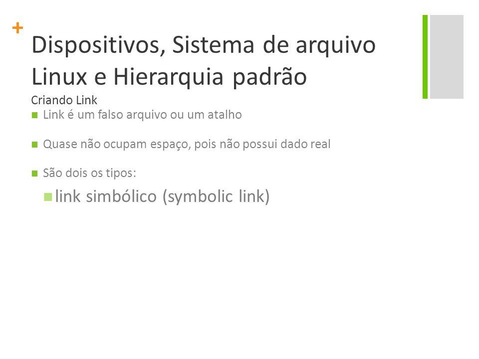 + Dispositivos, Sistema de arquivo Linux e Hierarquia padrão Criando Link Link é um falso arquivo ou um atalho Quase não ocupam espaço, pois não possui dado real São dois os tipos: link simbólico (symbolic link)