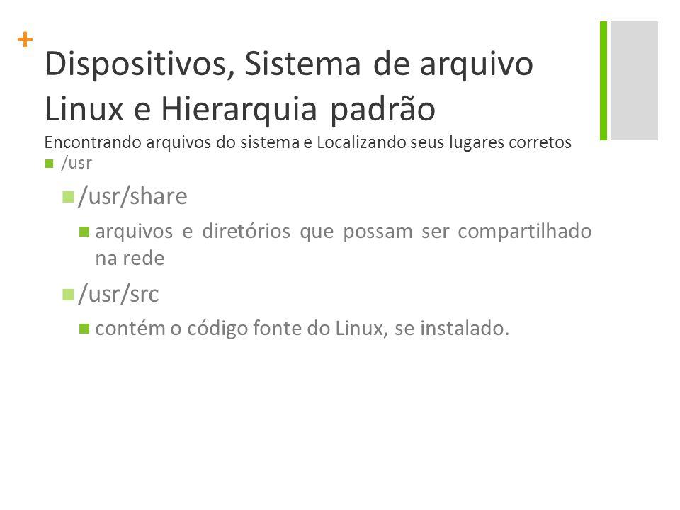 + Dispositivos, Sistema de arquivo Linux e Hierarquia padrão Encontrando arquivos do sistema e Localizando seus lugares corretos /usr /usr/share arquivos e diretórios que possam ser compartilhado na rede /usr/src contém o código fonte do Linux, se instalado.