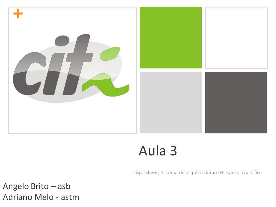 + Aula 3 Dispositivos, Sistema de arquivo Linux e Hierarquia padrão Angelo Brito – asb Adriano Melo - astm