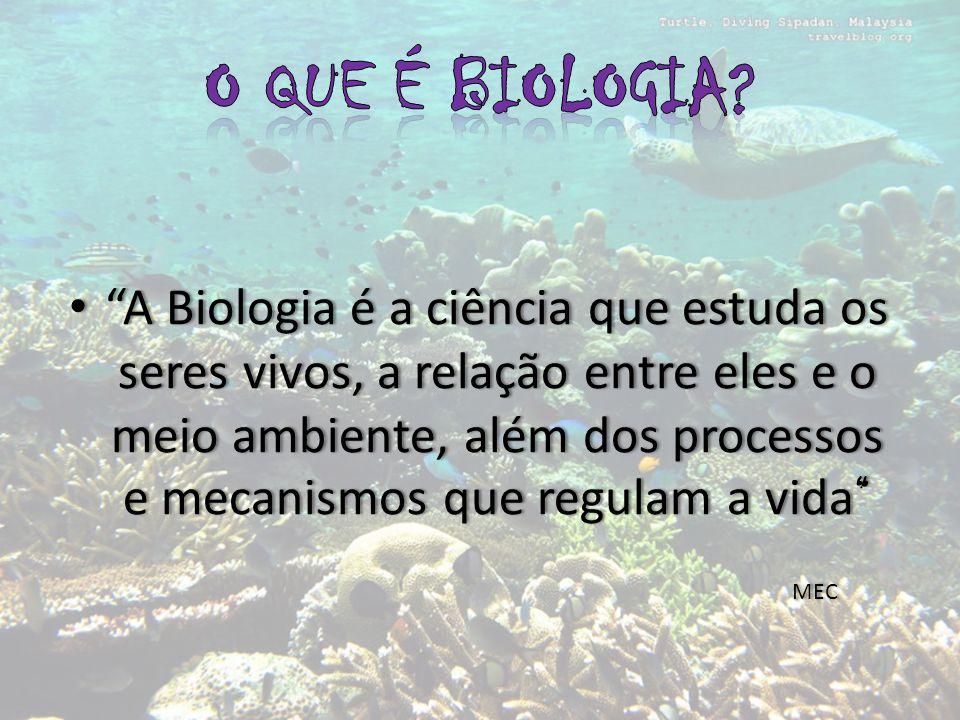 A Biologia é a ciência que estuda os seres vivos, a relação entre eles e o meio ambiente, além dos processos e mecanismos que regulam a vida A Biologia é a ciência que estuda os seres vivos, a relação entre eles e o meio ambiente, além dos processos e mecanismos que regulam a vida MEC