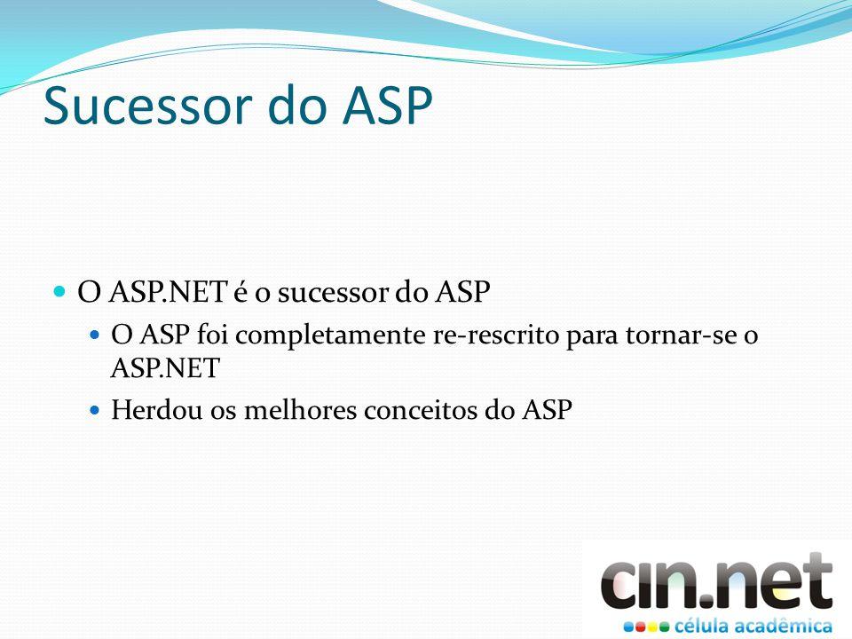 Sucessor do ASP O ASP.NET é o sucessor do ASP O ASP foi completamente re-rescrito para tornar-se o ASP.NET Herdou os melhores conceitos do ASP