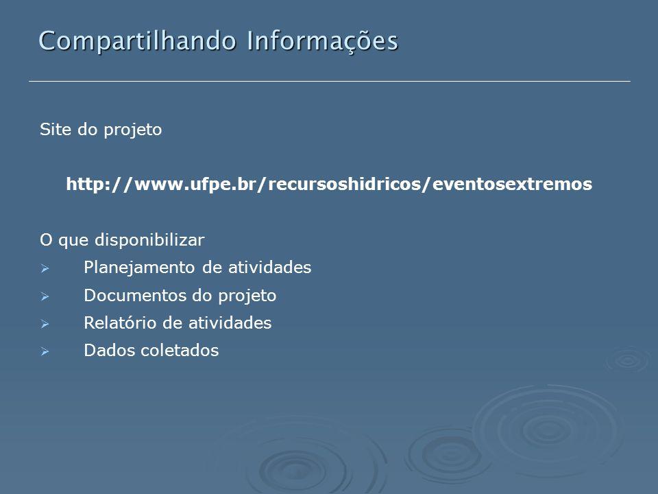 Compartilhando Informações Site do projeto http://www.ufpe.br/recursoshidricos/eventosextremos O que disponibilizar  Planejamento de atividades  Documentos do projeto  Relatório de atividades  Dados coletados