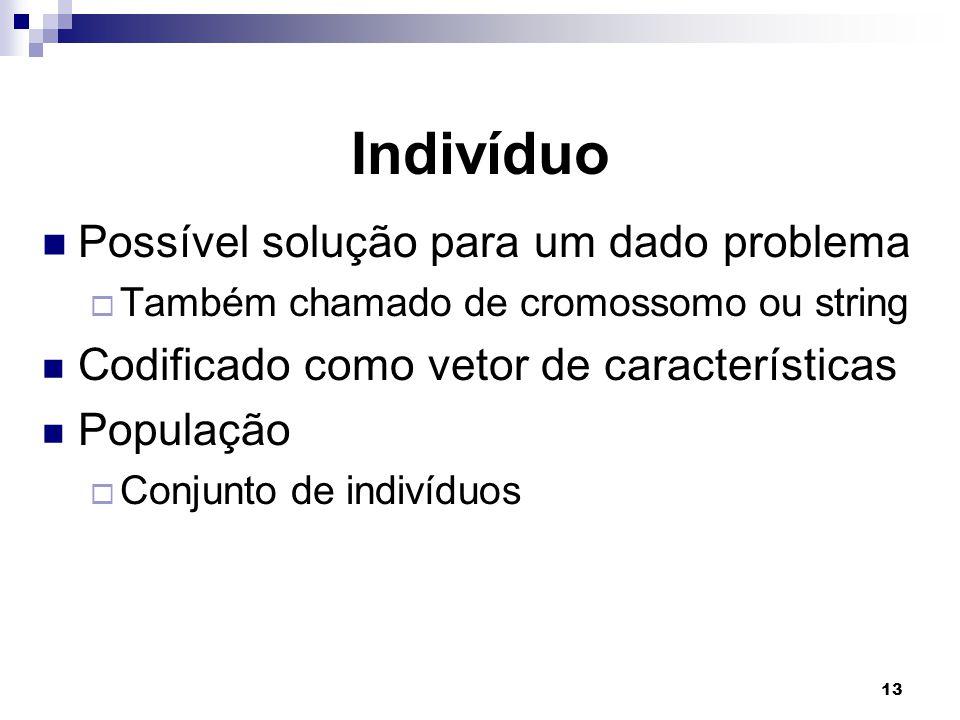 13 Indivíduo Possível solução para um dado problema  Também chamado de cromossomo ou string Codificado como vetor de características População  Conjunto de indivíduos