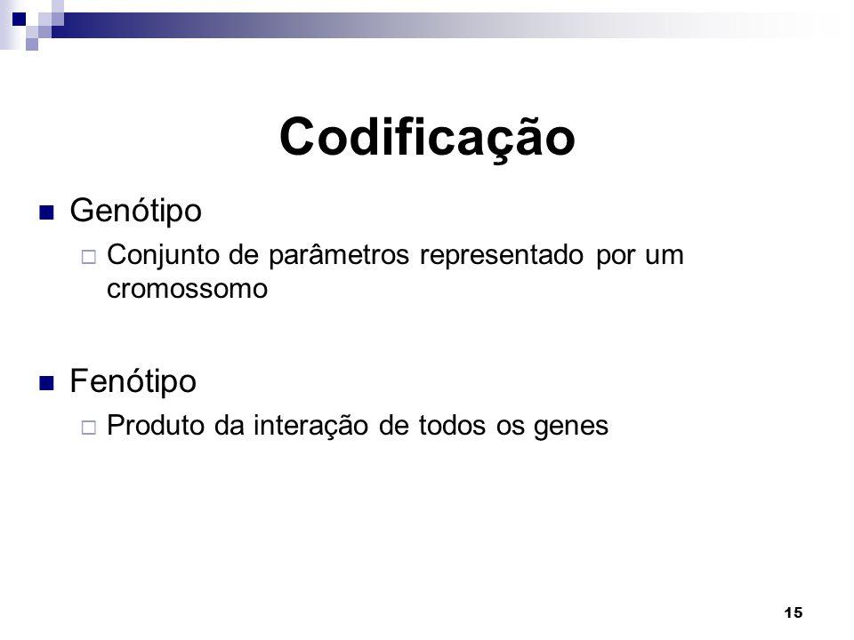 15 Codificação Genótipo  Conjunto de parâmetros representado por um cromossomo Fenótipo  Produto da interação de todos os genes