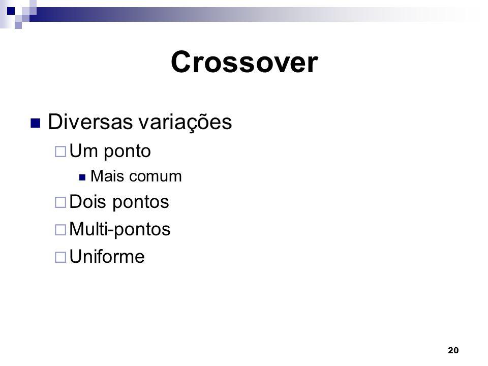 20 Crossover Diversas variações  Um ponto Mais comum  Dois pontos  Multi-pontos  Uniforme