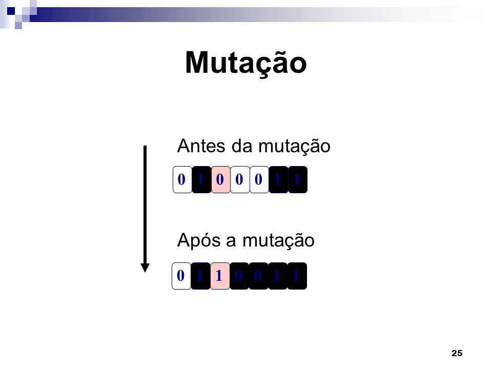 25 Mutação 1000011 1011001 Antes da mutação Após a mutação