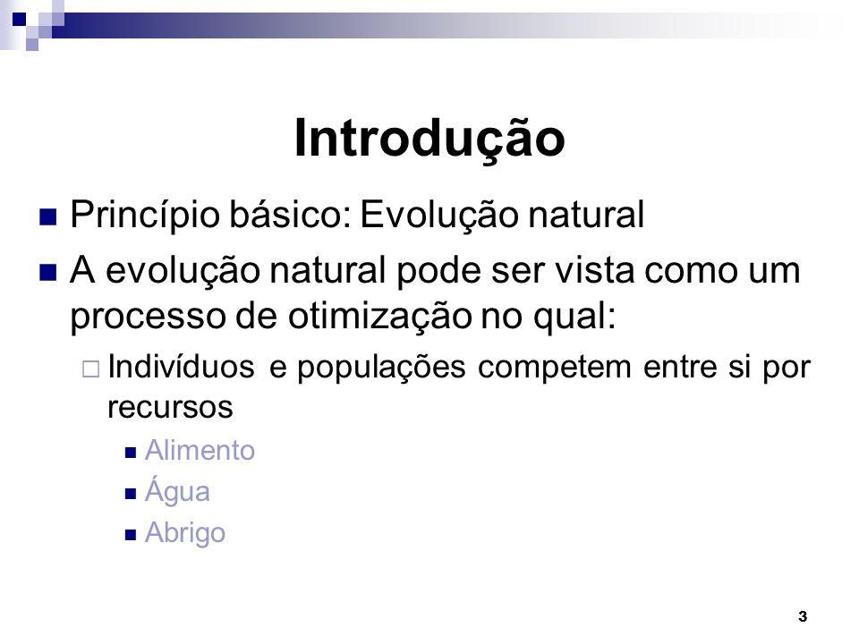 3 Introdução Princípio básico: Evolução natural A evolução natural pode ser vista como um processo de otimização no qual:  Indivíduos e populações competem entre si por recursos Alimento Água Abrigo