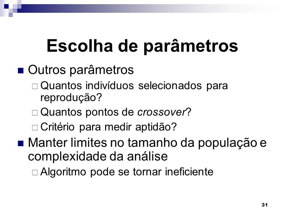 31 Escolha de parâmetros Outros parâmetros  Quantos indivíduos selecionados para reprodução.