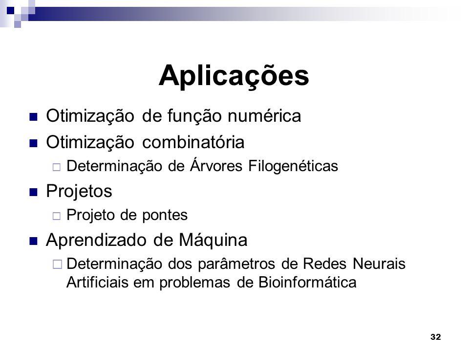 32 Aplicações Otimização de função numérica Otimização combinatória  Determinação de Árvores Filogenéticas Projetos  Projeto de pontes Aprendizado de Máquina  Determinação dos parâmetros de Redes Neurais Artificiais em problemas de Bioinformática
