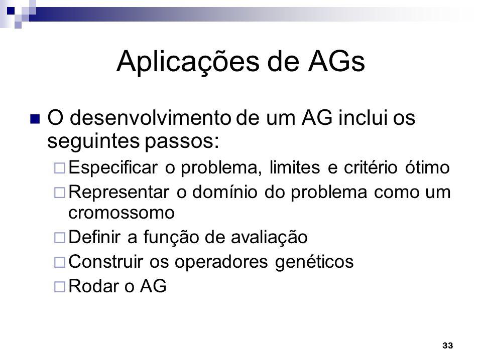 33 Aplicações de AGs O desenvolvimento de um AG inclui os seguintes passos:  Especificar o problema, limites e critério ótimo  Representar o domínio do problema como um cromossomo  Definir a função de avaliação  Construir os operadores genéticos  Rodar o AG