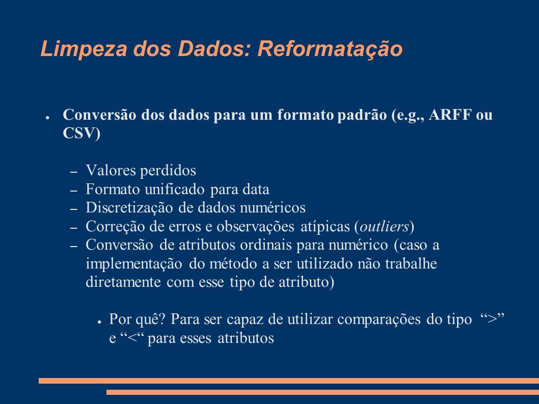 Limpeza dos Dados: Reformatação ● Conversão dos dados para um formato padrão (e.g., ARFF ou CSV) – Valores perdidos – Formato unificado para data – Di