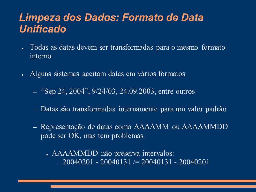 Limpeza dos Dados: Formato de Data Unificado ● Todas as datas devem ser transformadas para o mesmo formato interno ● Alguns sistemas aceitam datas em vários formatos – Sep 24, 2004 , 9/24/03, 24.09.2003, entre outros – Datas são transformadas internamente para um valor padrão – Representação de datas como AAAAMM ou AAAAMMDD pode ser OK, mas tem problemas: ● AAAAMMDD não preserva intervalos: – 20040201 - 20040131 /= 20040131 - 20040201