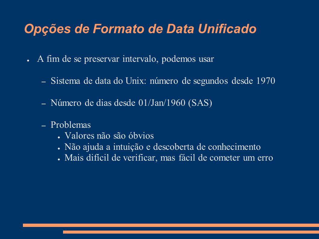Opções de Formato de Data Unificado ● A fim de se preservar intervalo, podemos usar – Sistema de data do Unix: número de segundos desde 1970 – Número