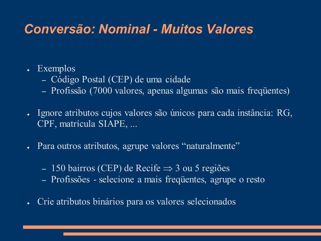 Conversão: Nominal - Muitos Valores ● Exemplos – Código Postal (CEP) de uma cidade – Profissão (7000 valores, apenas algumas são mais freqüentes) ● Ig