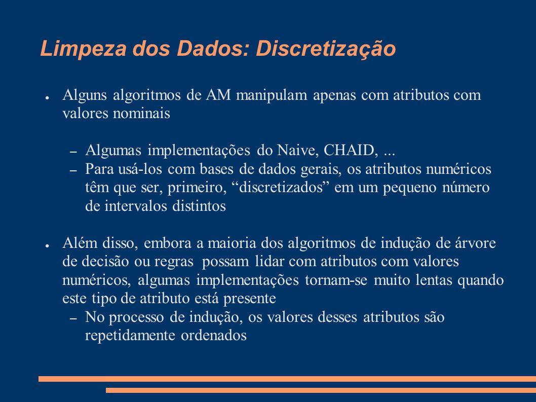 Limpeza dos Dados: Discretização ● Alguns algoritmos de AM manipulam apenas com atributos com valores nominais – Algumas implementações do Naive, CHAID,...