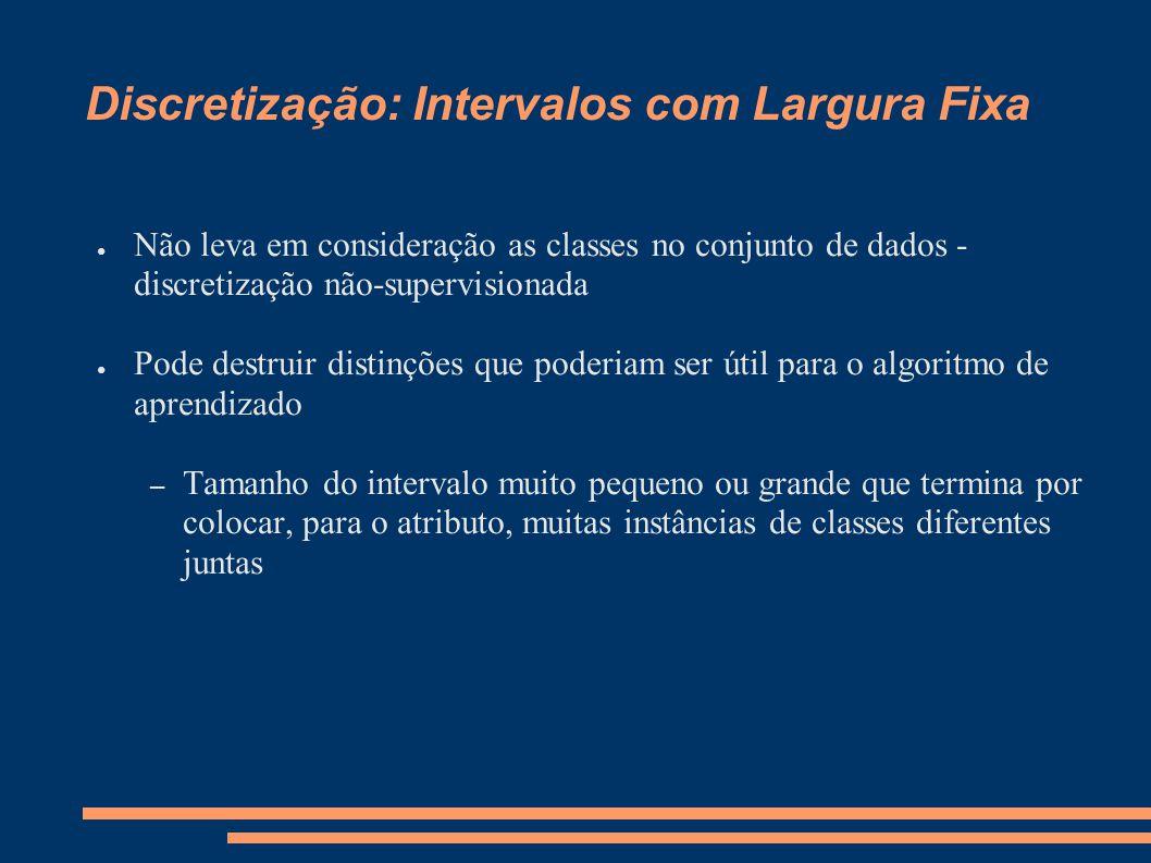 Discretização: Intervalos com Largura Fixa ● Não leva em consideração as classes no conjunto de dados - discretização não-supervisionada ● Pode destru