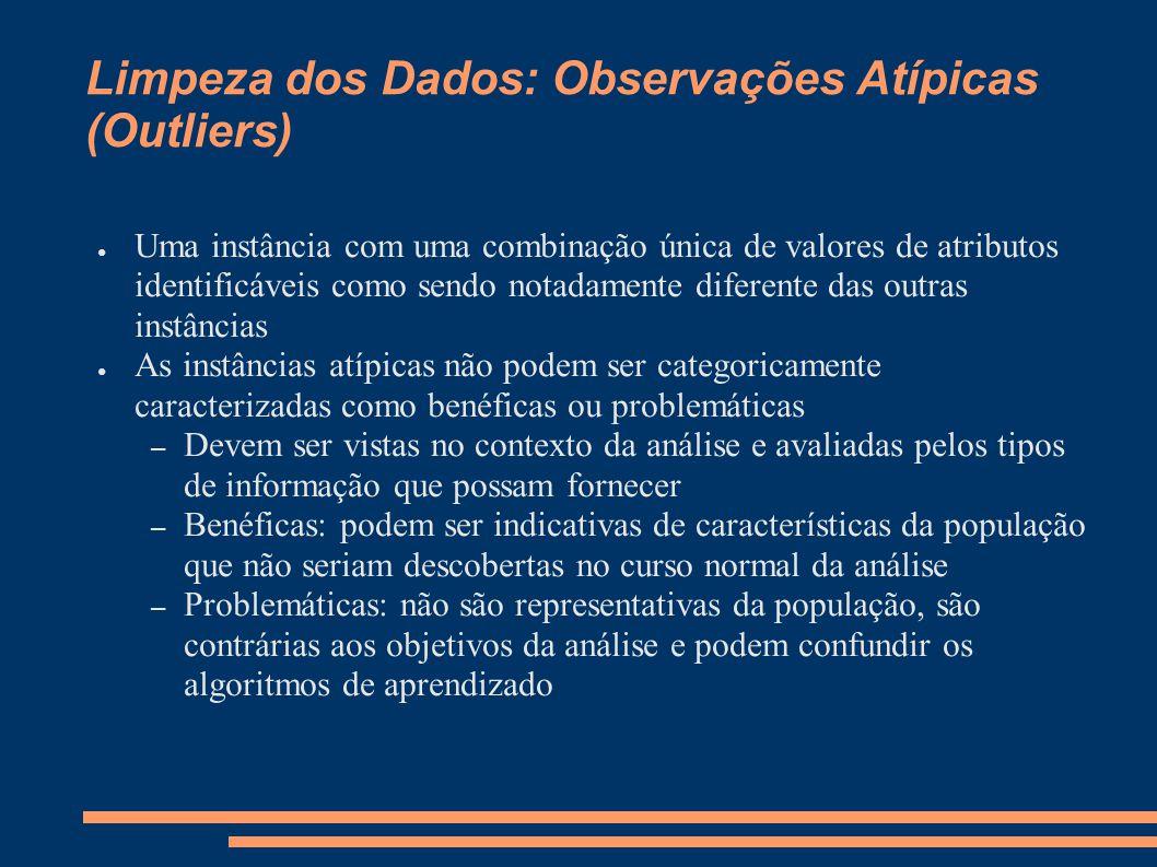 Limpeza dos Dados: Observações Atípicas (Outliers) ● Uma instância com uma combinação única de valores de atributos identificáveis como sendo notadame