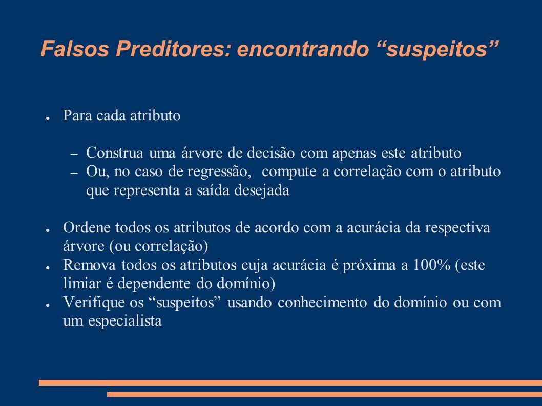 """Falsos Preditores: encontrando """"suspeitos"""" ● Para cada atributo – Construa uma árvore de decisão com apenas este atributo – Ou, no caso de regressão,"""