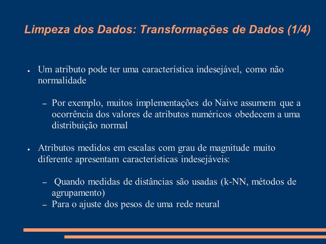 Limpeza dos Dados: Transformações de Dados (1/4) ● Um atributo pode ter uma característica indesejável, como não normalidade – Por exemplo, muitos imp