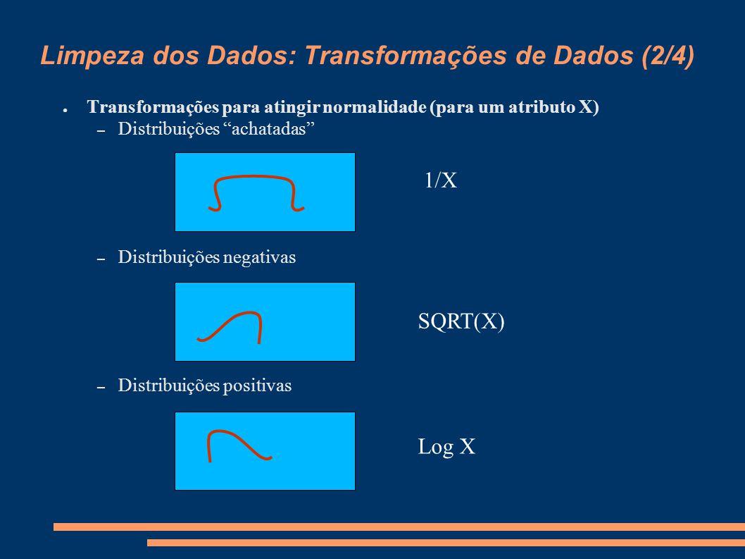 Limpeza dos Dados: Transformações de Dados (2/4) ● Transformações para atingir normalidade (para um atributo X) – Distribuições achatadas – Distribuições negativas – Distribuições positivas 1/X SQRT(X) Log X