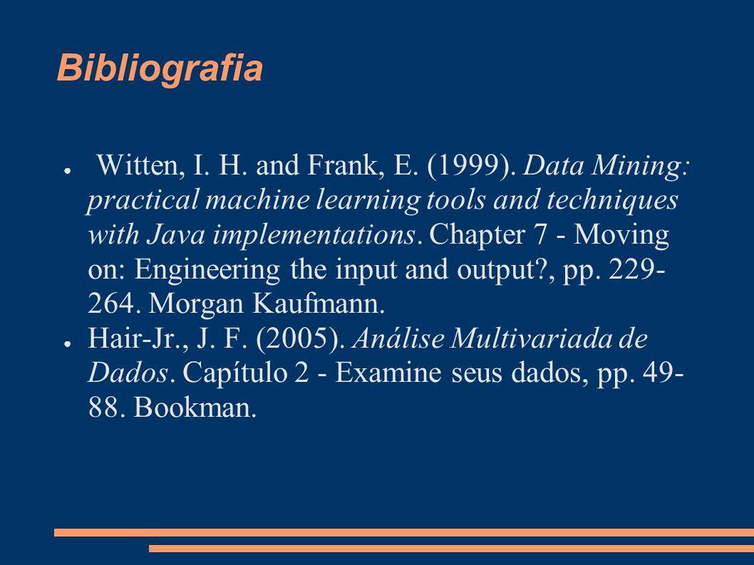Bibliografia ● Witten, I. H. and Frank, E. (1999).