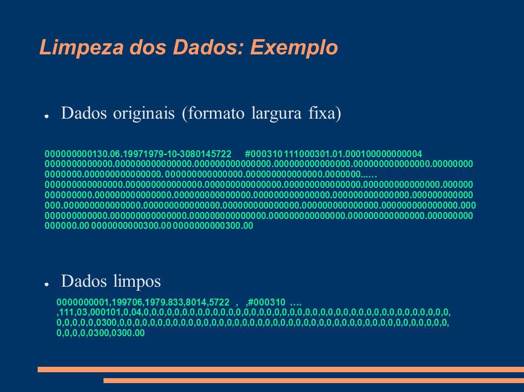 Limpeza dos Dados: Exemplo ● Dados originais (formato largura fixa) ● Dados limpos - 000000000130.06.19971979-10-3080145722 #000310 111000301.01.00010
