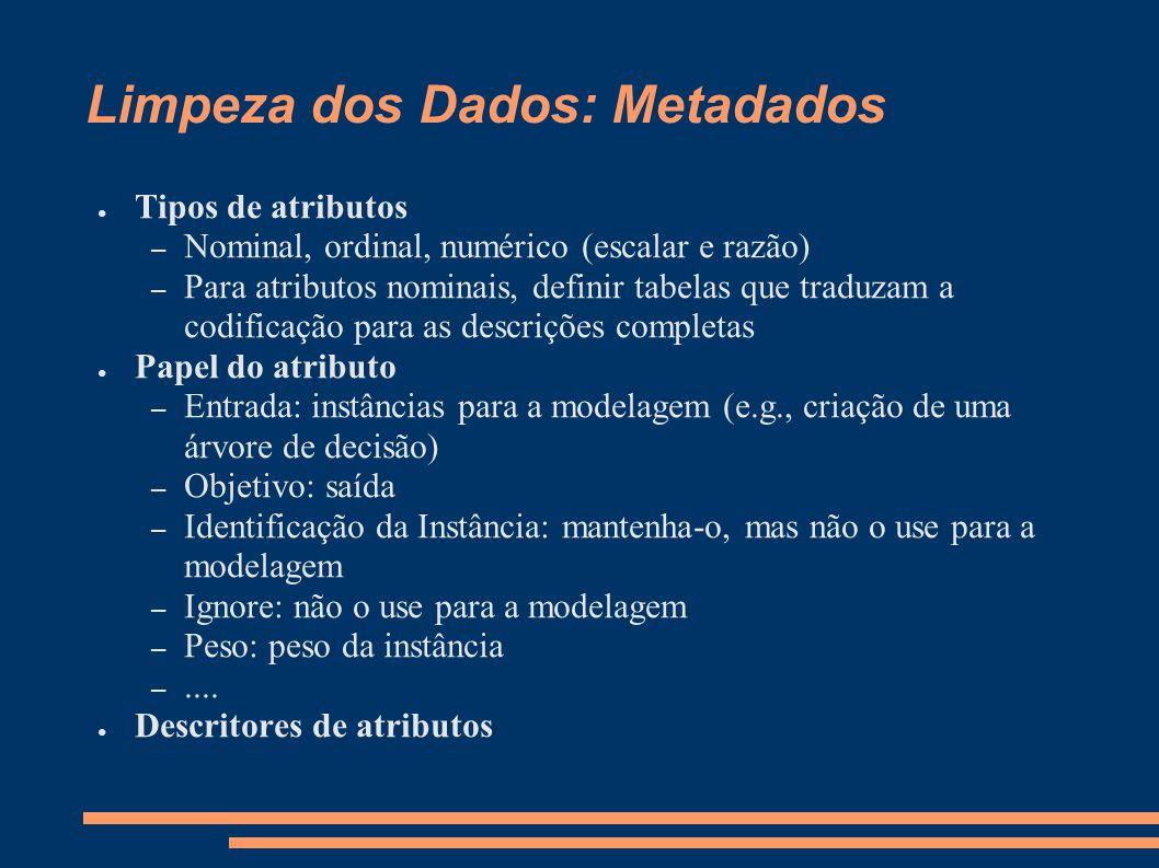 Limpeza dos Dados: Metadados ● Tipos de atributos – Nominal, ordinal, numérico (escalar e razão) – Para atributos nominais, definir tabelas que traduz