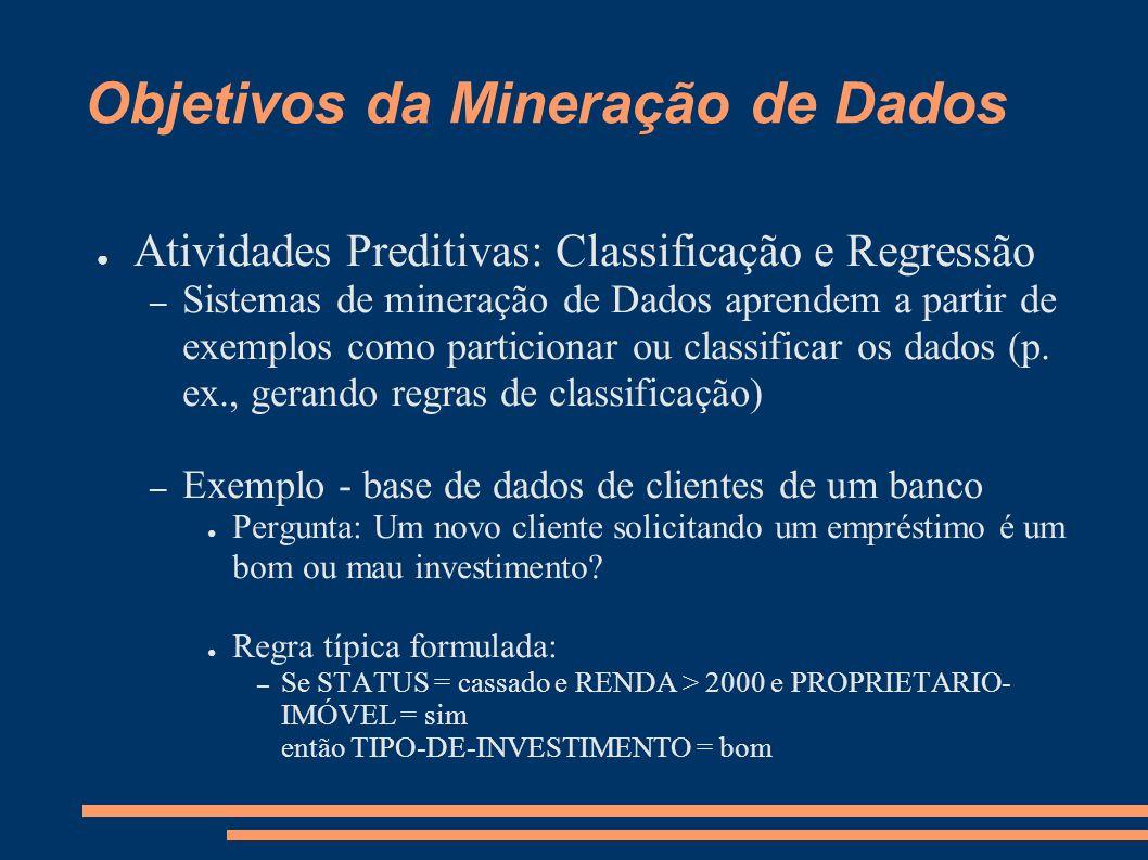 Objetivos da Mineração de Dados ● Atividades Preditivas: Classificação e Regressão – Sistemas de mineração de Dados aprendem a partir de exemplos como particionar ou classificar os dados (p.