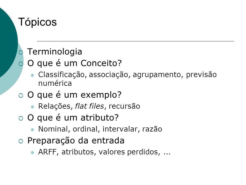 Tópicos  Terminologia  O que é um Conceito? Classificação, associação, agrupamento, previsão numérica  O que é um exemplo? Relações, flat files, re