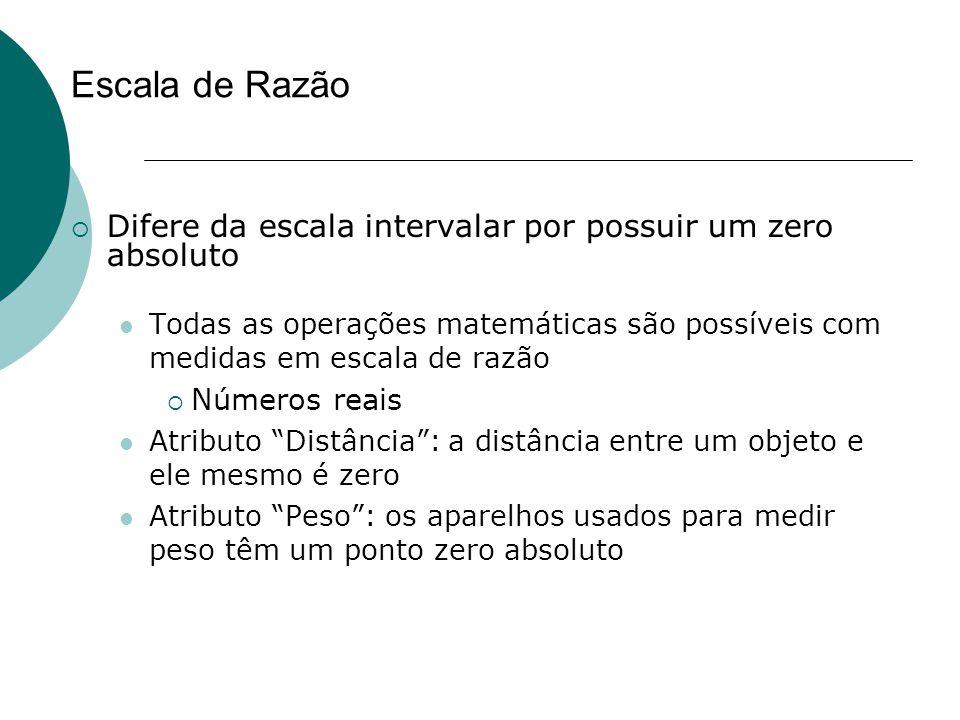Escala de Razão  Difere da escala intervalar por possuir um zero absoluto Todas as operações matemáticas são possíveis com medidas em escala de razão