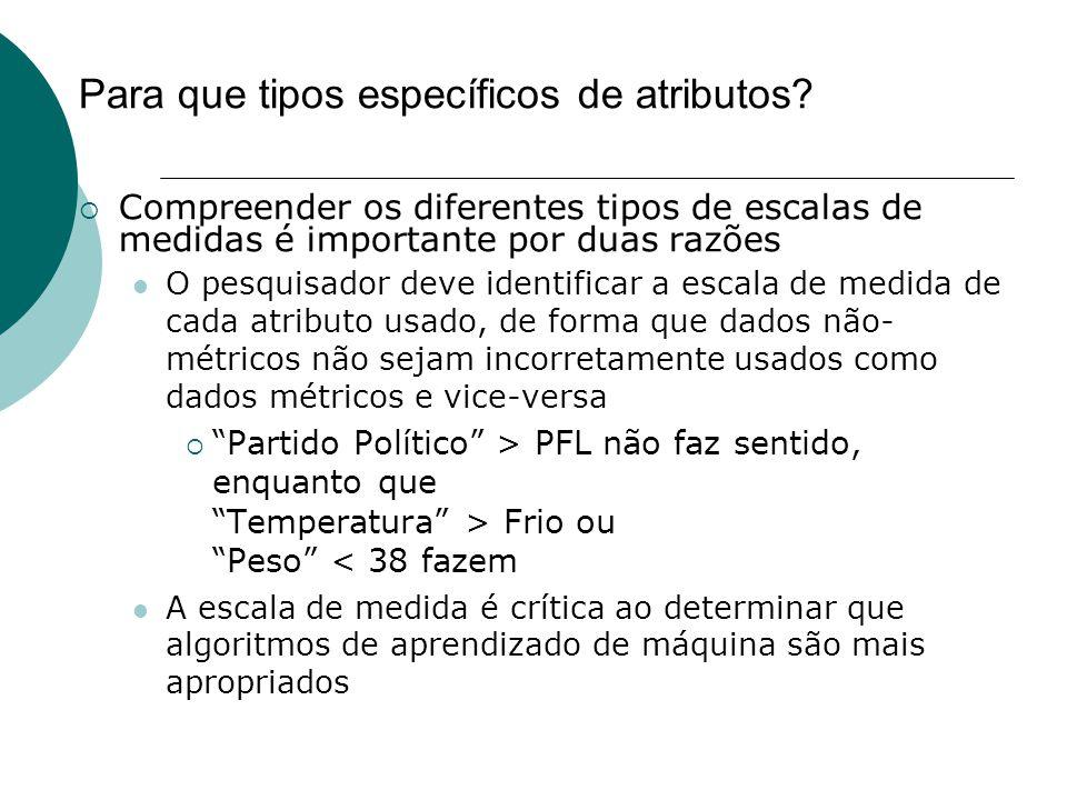 Para que tipos específicos de atributos?  Compreender os diferentes tipos de escalas de medidas é importante por duas razões O pesquisador deve ident