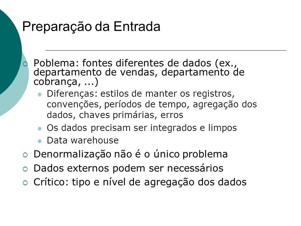 Preparação da Entrada  Poblema: fontes diferentes de dados (ex., departamento de vendas, departamento de cobrança,...) Diferenças: estilos de manter