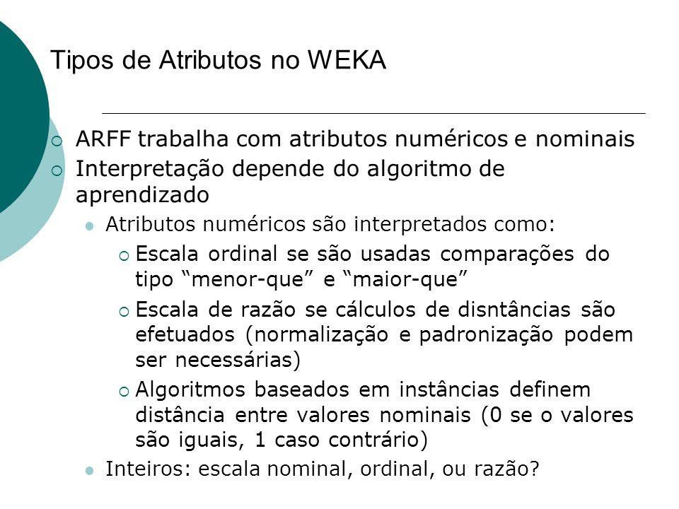 Tipos de Atributos no WEKA  ARFF trabalha com atributos numéricos e nominais  Interpretação depende do algoritmo de aprendizado Atributos numéricos