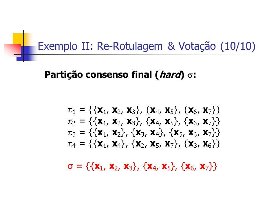 Exemplo II: Re-Rotulagem & Votação (10/10) Partição consenso final (hard)  :