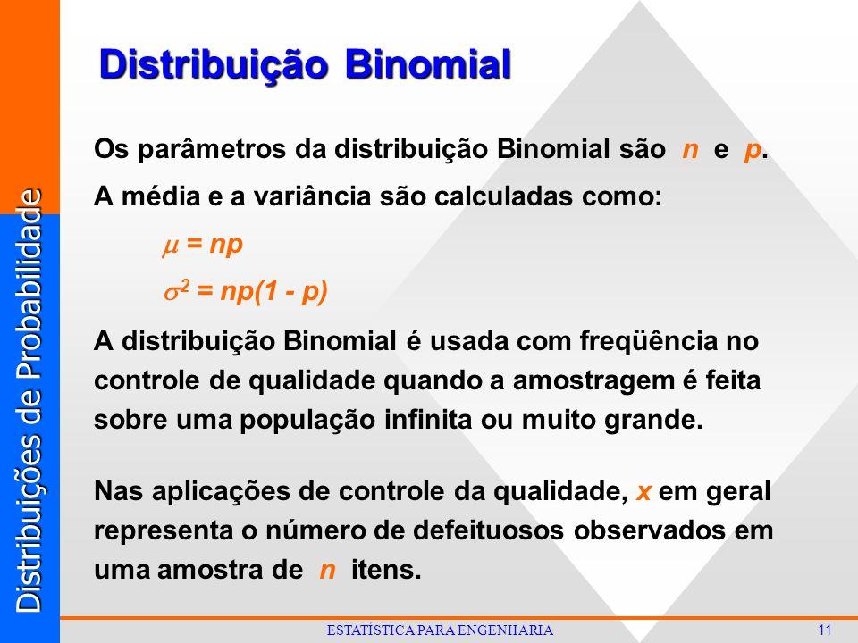 Distribuições de Probabilidade 11 ESTATÍSTICA PARA ENGENHARIA Os parâmetros da distribuição Binomial são n e p.