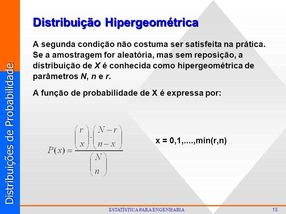 Distribuições de Probabilidade 15 ESTATÍSTICA PARA ENGENHARIA A segunda condição não costuma ser satisfeita na prática.
