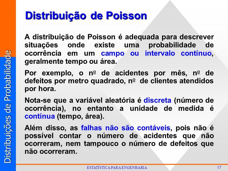 Distribuições de Probabilidade 17 ESTATÍSTICA PARA ENGENHARIA Distribuição de Poisson A distribuição de Poisson é adequada para descrever situações onde existe uma probabilidade de ocorrência em um campo ou intervalo contínuo, geralmente tempo ou área.