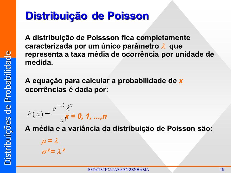Distribuições de Probabilidade 19 ESTATÍSTICA PARA ENGENHARIA Distribuição de Poisson A distribuição de Poissson fica completamente caracterizada por um único parâmetro que representa a taxa média de ocorrência por unidade de medida.