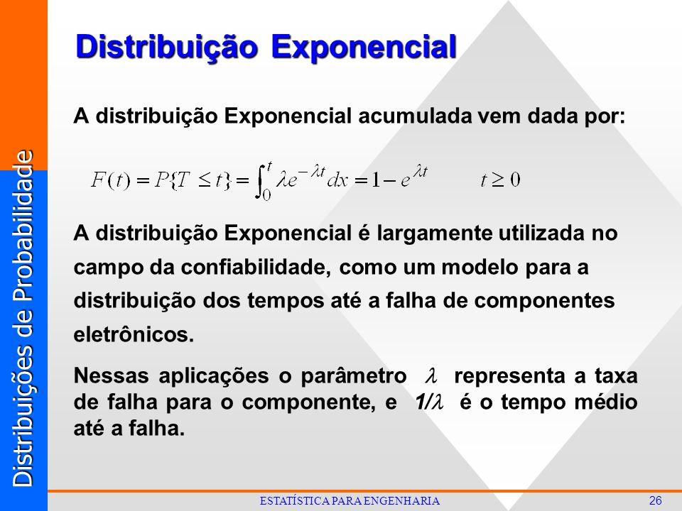 Distribuições de Probabilidade 26 ESTATÍSTICA PARA ENGENHARIA A distribuição Exponencial acumulada vem dada por: A distribuição Exponencial é largamente utilizada no campo da confiabilidade, como um modelo para a distribuição dos tempos até a falha de componentes eletrônicos.