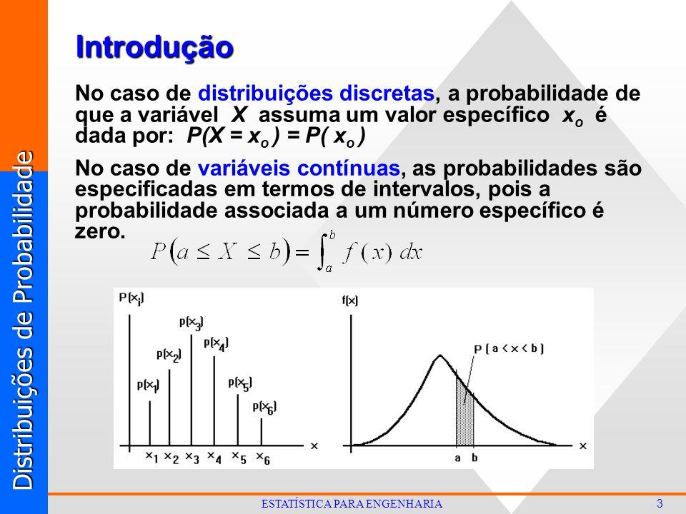 Distribuições de Probabilidade 3 ESTATÍSTICA PARA ENGENHARIA No caso de distribuições discretas, a probabilidade de que a variável X assuma um valor específico x o é dada por: P(X = x o ) = P( x o ) No caso de variáveis contínuas, as probabilidades são especificadas em termos de intervalos, pois a probabilidade associada a um número específico é zero.