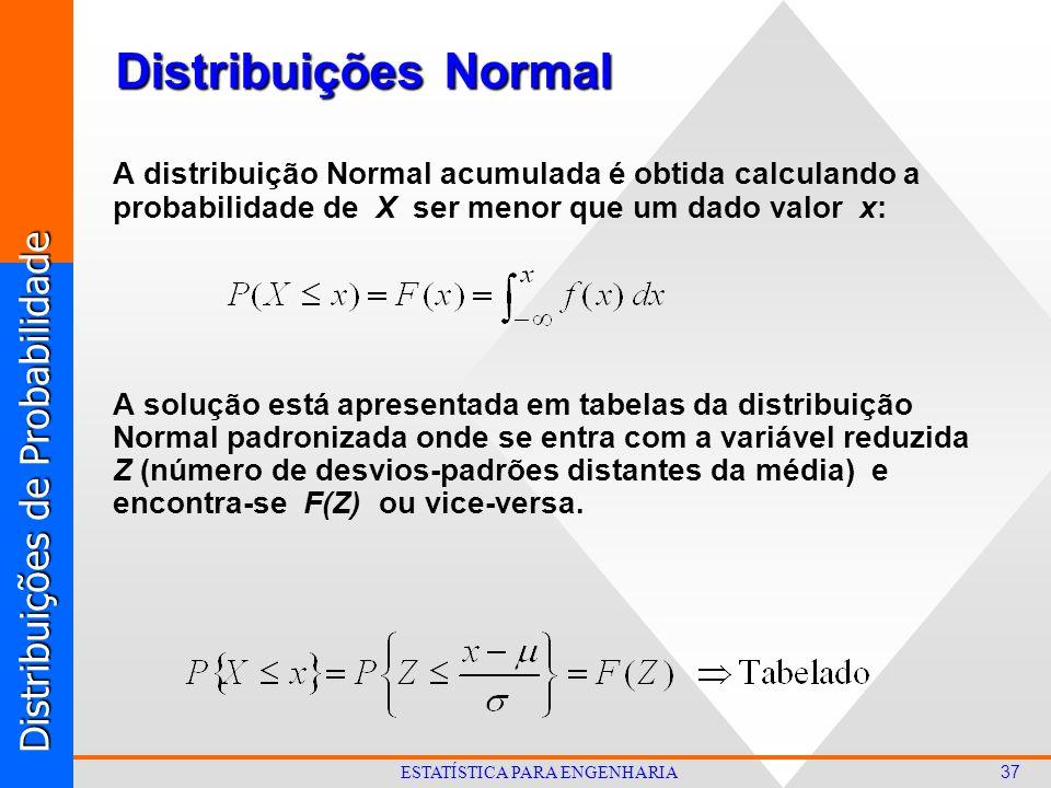 Distribuições de Probabilidade 37 ESTATÍSTICA PARA ENGENHARIA Distribuições Normal A distribuição Normal acumulada é obtida calculando a probabilidade de X ser menor que um dado valor x: A solução está apresentada em tabelas da distribuição Normal padronizada onde se entra com a variável reduzida Z (número de desvios-padrões distantes da média) e encontra-se F(Z) ou vice-versa.