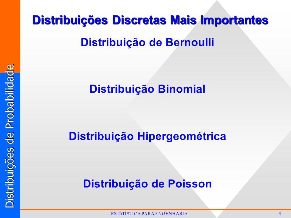 Distribuições de Probabilidade 4 ESTATÍSTICA PARA ENGENHARIA Distribuições Discretas Mais Importantes Distribuição de Bernoulli Distribuição Binomial Distribuição Hipergeométrica Distribuição de Poisson