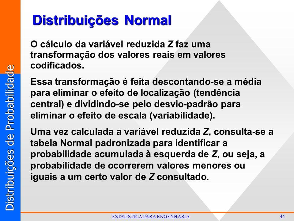Distribuições de Probabilidade 41 ESTATÍSTICA PARA ENGENHARIA Distribuições Normal O cálculo da variável reduzida Z faz uma transformação dos valores reais em valores codificados.