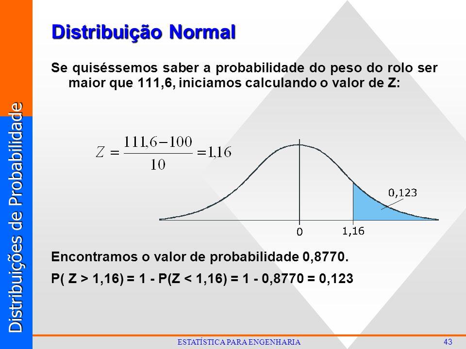 Distribuições de Probabilidade 43 ESTATÍSTICA PARA ENGENHARIA Distribuição Normal Se quiséssemos saber a probabilidade do peso do rolo ser maior que 111,6, iniciamos calculando o valor de Z: Encontramos o valor de probabilidade 0,8770.