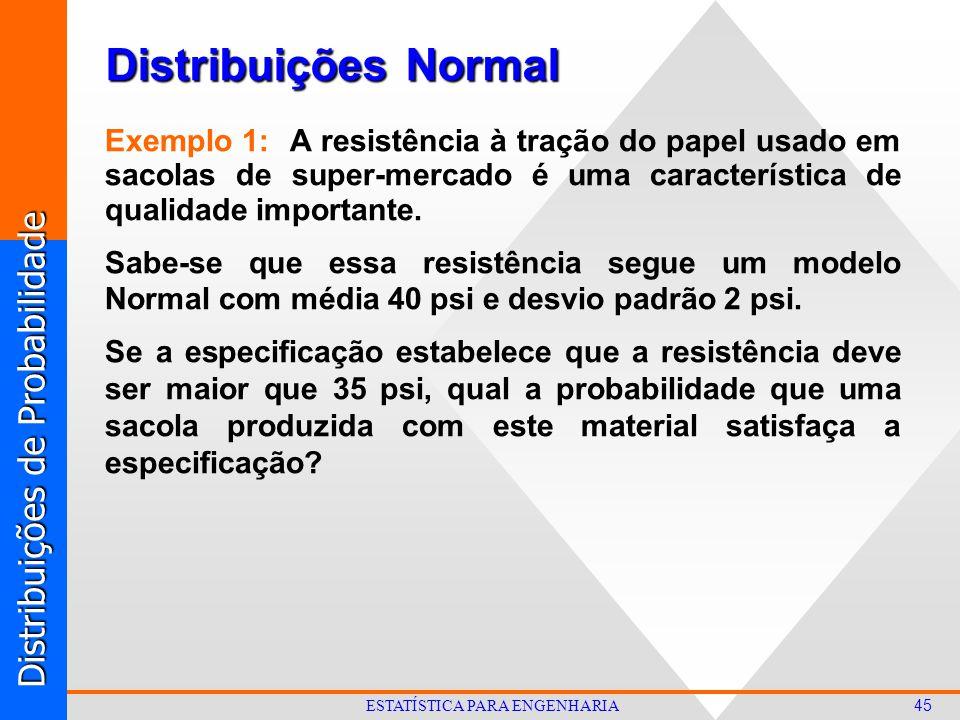 Distribuições de Probabilidade 45 ESTATÍSTICA PARA ENGENHARIA Distribuições Normal Exemplo 1: A resistência à tração do papel usado em sacolas de super-mercado é uma característica de qualidade importante.