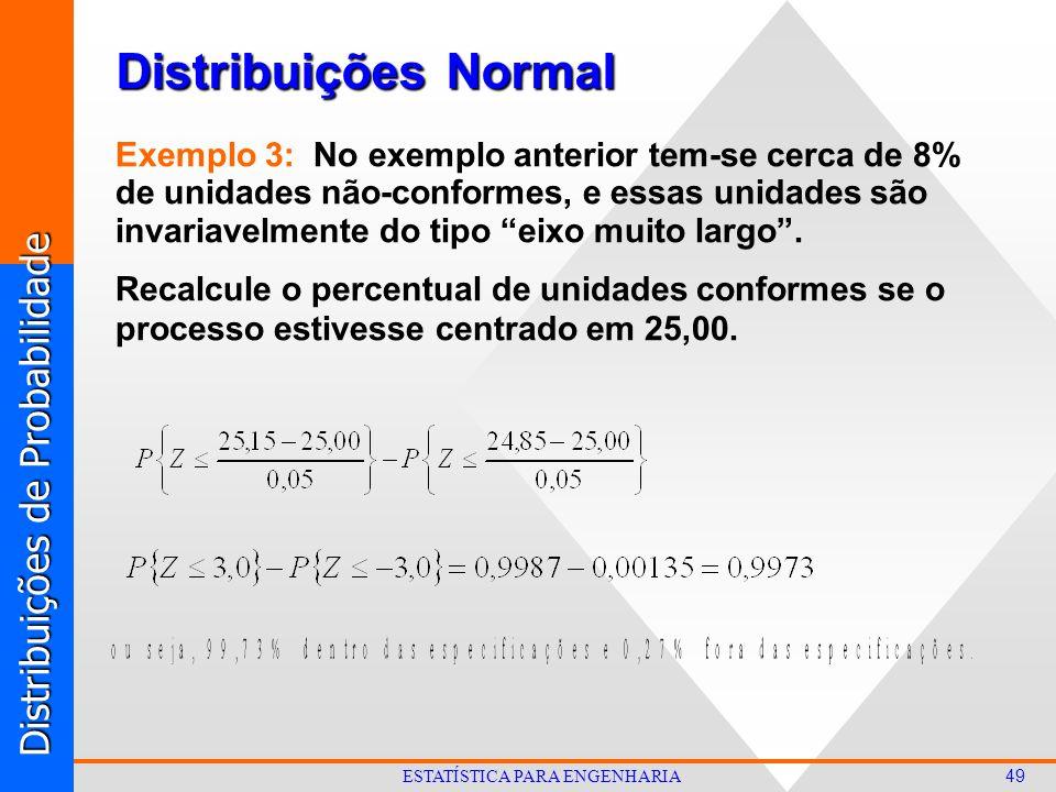 Distribuições de Probabilidade 49 ESTATÍSTICA PARA ENGENHARIA Distribuições Normal Exemplo 3: No exemplo anterior tem-se cerca de 8% de unidades não-conformes, e essas unidades são invariavelmente do tipo eixo muito largo .