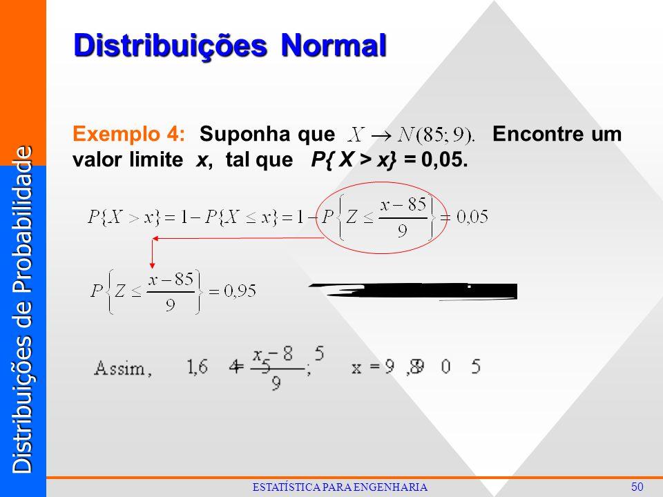 Distribuições de Probabilidade 50 ESTATÍSTICA PARA ENGENHARIA Distribuições Normal Exemplo 4: Suponha que Encontre um valor limite x, tal que P{ X > x} = 0,05.