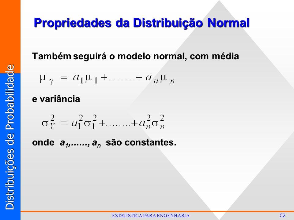 Distribuições de Probabilidade 52 ESTATÍSTICA PARA ENGENHARIA Também seguirá o modelo normal, com média e variância onde a 1,......, a n são constantes.