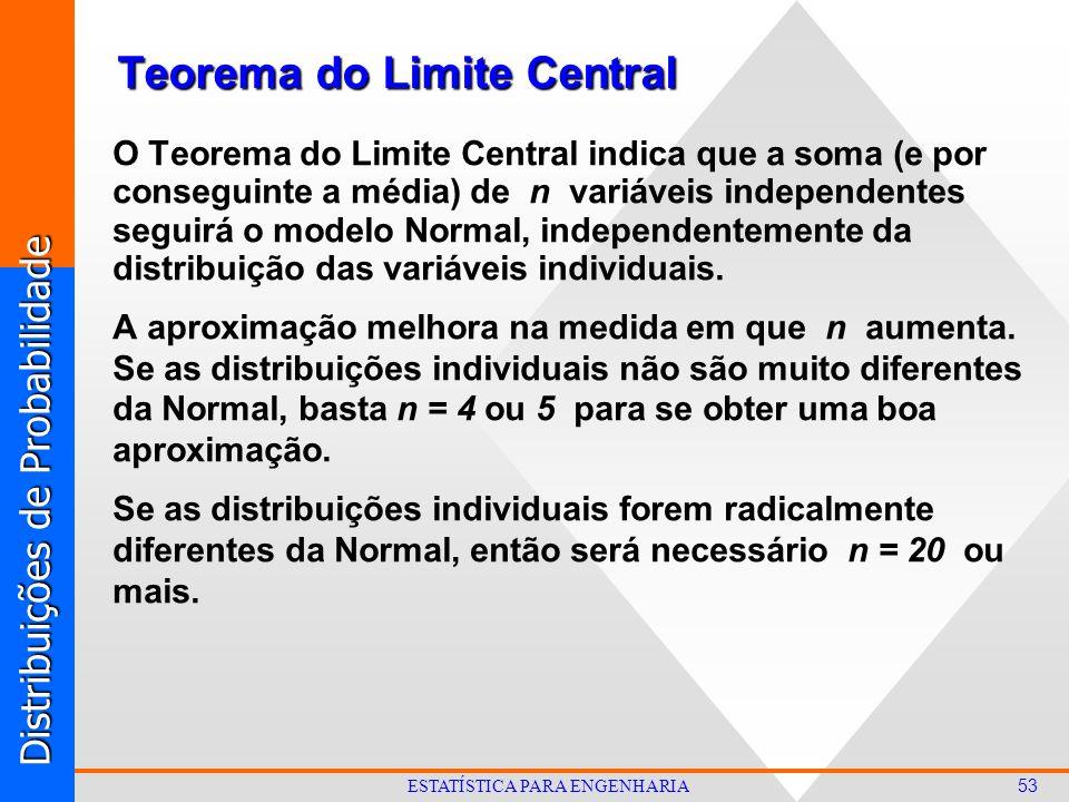 Distribuições de Probabilidade 53 ESTATÍSTICA PARA ENGENHARIA Teorema do Limite Central O Teorema do Limite Central indica que a soma (e por conseguinte a média) de n variáveis independentes seguirá o modelo Normal, independentemente da distribuição das variáveis individuais.